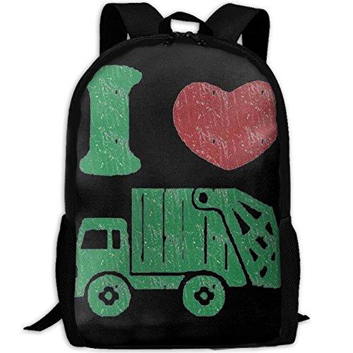 I Love Trash Garbage Trucks Argentina Flag Unique Outdoor Shoulders Bag Fabric Backpack Multipurpose Daypacks For Adult by Backpack215 (Image #1)
