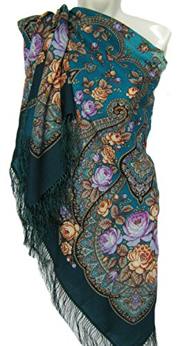 Pavlovo Posad Russian Shawl Pashmina Scarf Wrap Green Pink Horizon 100% Wool 53x53''