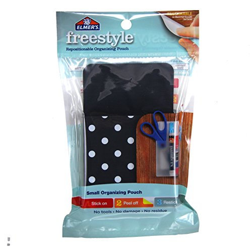 Elmer's Freestyle Reusable and Repositionable Adhesive Organizing Pencil Pouch, Small, Black and White Polka Dots, E5905