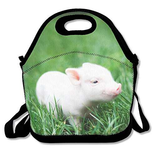 JDE D XKJA Cute Baby Pig Printed Portable Lunch Bag Carry Case Tote With Zipper Strap Box Cooler Container Bags Picnic Outdoor Travel Fashionable Handbag Pouch For Women Men Kids Girls - Baby Pig Box