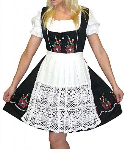 Dirndl Trachten Haus 3-Piece Short German Wear Party Oktoberfest Dress 8 38 Black by Dirndl Trachten Haus