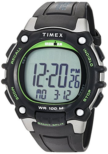 Timex Men's TW5M03400 Ironman Classic 100 Full-Size Black/Green Resin Strap Watch (Strap Resin Black)