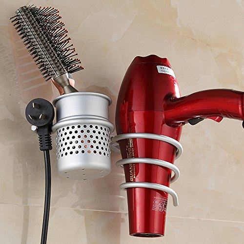 Joyoldelf Space Aluminum Wall Mount Spiral Spring Dryer Holder Rack With Hair Straightener Holder