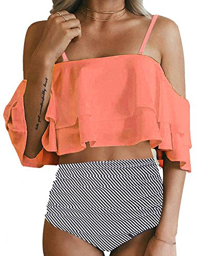 Double Dry Gel Strap Bra - Ty-Black Fashion Women Two Piece Off Shoulder Ruffled Flounce Crop Bikini Top with Print Cut Out Bottoms,Small,Orange
