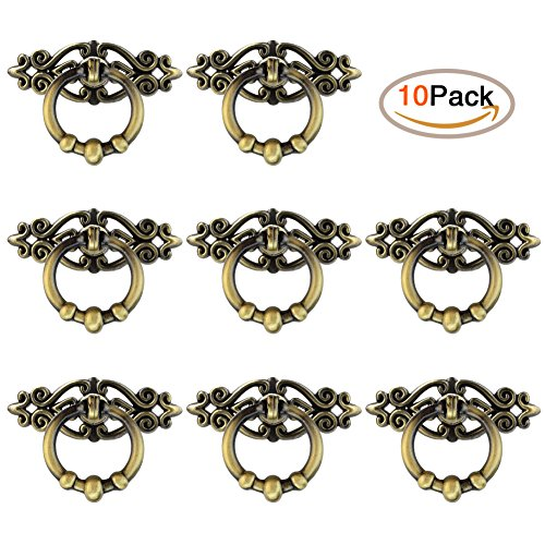 Antique Dresser Handles (Jmkcoz 10 Pack Cabinet Knob Cupboard Drawer Pull Handle Cabinet Cupboard Dresser Ring Pulls with Screws)