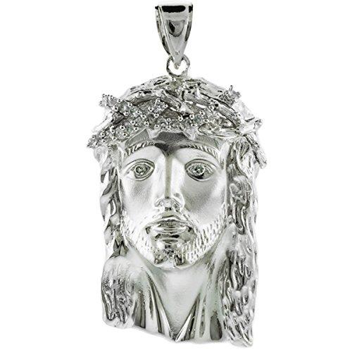 Petits Merveilles D'amour - 14 ct Or Blanc 585/1000 Jésus grande face Oxyde de Zirconium Pendentif