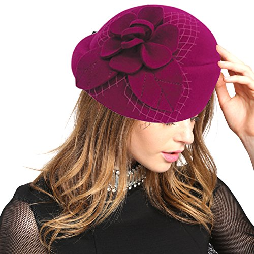 CC2286 Women Veil Formal Cocktail 100% Felt Wool Pill Box Style Fascinator (PINK) - Felt Pill Box
