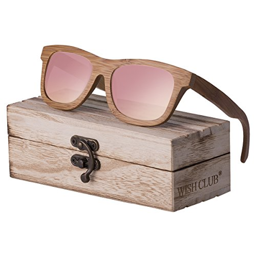WISH CLUB Bamboo Wood Frame Lightweight Sunglasses Polarized UV 4