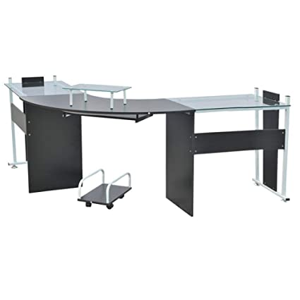 low priced 628f0 e7fc1 Warmiehomy Computer Office Desk L-Shaped Glass Large Corner ...