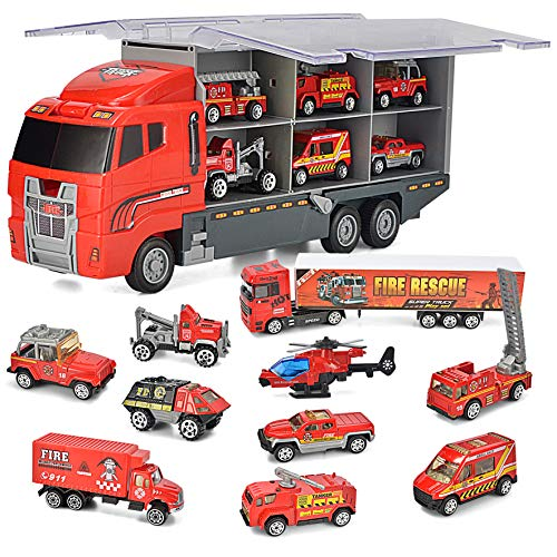 JOYIN 10 in 1 Die-cast Fire Engine Vehicle Mini Rescue Emergency Fire Truck Toy Set in Carrier Truck
