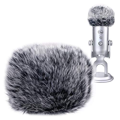 YOUSHARES Microphone Furry Windscreen Muff - Mic Wind Cover Fur Pop Filter as Foam Cover for Blue Yeti, Blue Yeti Pro USB Condenser Mic