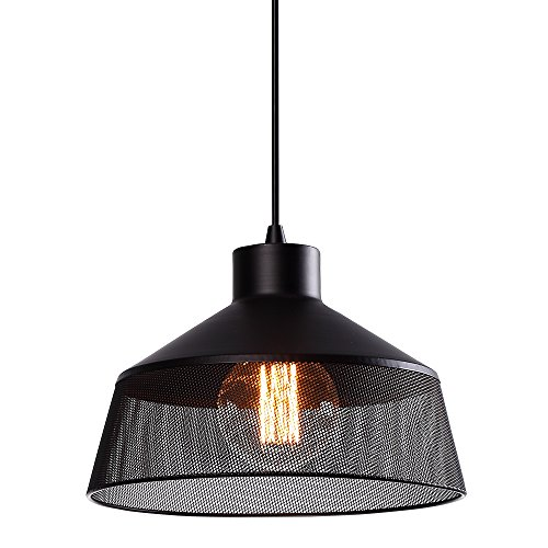 Island Lighting Retro One-Light Vintage Industrial Style Adjustable Pendant Lighting with Metal Lamp Shade and Black Cord Commercial Pendant Lighting