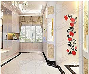 DIY beauty Flower vine Arcylic 3D Wall Stickers Crystal Decal Living room bedroom TV background Decor qy