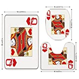 3 Piece Bathroom Mat Set,Queen,Queen of Hearts Playing Card Casino Decor Gambling Game Poker Blackjack Deck,Red Yellow White,Bath Mat,Bathroom Carpet Rug,Non-Slip