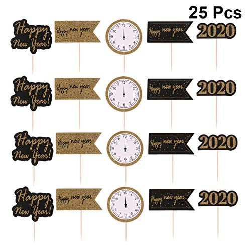 Amosfun 25pcs Happy New Year Cake Toppers 2020 New Year's Eve Dessert Cupcake Topper Treat Toothpick For 2020 New Year Party Decor