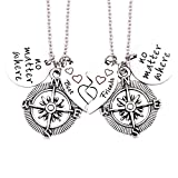 O.RIYA Best Friends No Matter Where Compass Necklaces Bracelet Set Heart , Best Friend Necklaces 2 Piece for Teens Half Broken Heart Necklace Bracelet,Two Piece Double Necklace BraceletSet