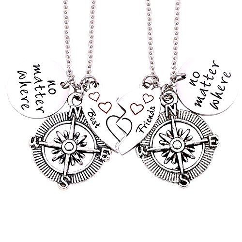O.RIYA Best Friends No Matter Where Compass Necklaces Bracelet Set Heart , Best Friend Necklaces 2 Piece for Teens Half Broken Heart Necklace Bracelet,Two Piece Double Necklace BraceletSet -