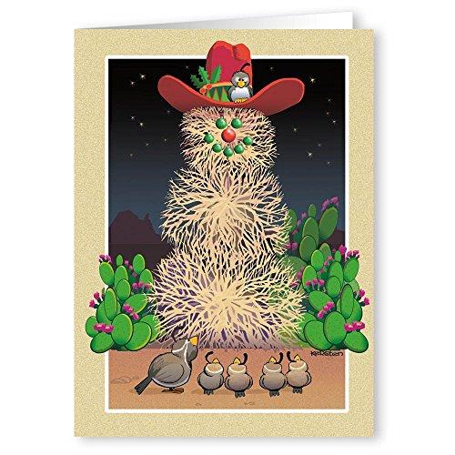 Western Snowman - Tumbleweed Snowman Western Theme Christmas Card - 18 Cards &19 Envelopes