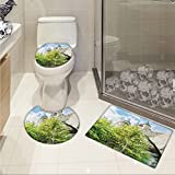 jwchijimwyc Wizard 3 Piece Extended bath mat set Witchcraft School and Wizard Castle in Woods Replica in Japan Picture Print Increase Green Blue Beige