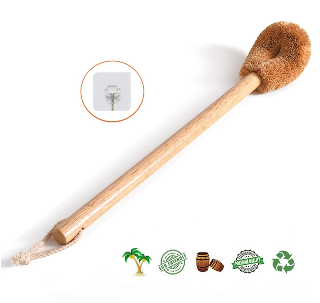 dirk Toilet Brush, Natural Coconut Fiber Brush Head and Rubber Wood Handle, Great for Bathroom by dirk