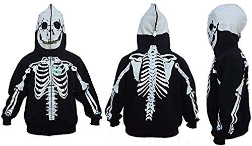 Skeleton Hoodie Men's Halloween Costume Full Zip Up Black S-3XL (2XL, Black) (Skeleton Hoodies)
