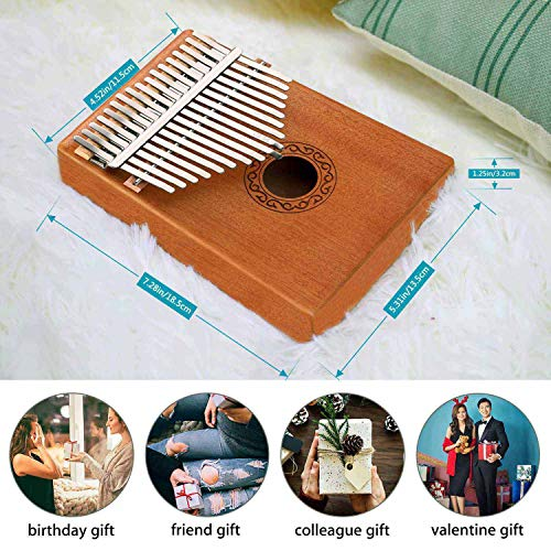 Kalimba17 Keys Thumb Piano with Tune Hammer Kalimba for Family Party Solid Mahogany Wood Portable Finger Piano African Wood Mbira Sanza Musical Instrument Gifts for Kids Adult Beginners