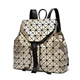 Geometric Backpack Lingge Laser Backpacks Women Fashion Shoulder Bags Travel College Rucksack Gold