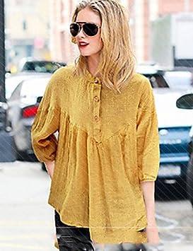 Mujer Camisa Blusa 2016 Verano Mujer Blusa – Botón de seda sintética ¾ brazo soporte,