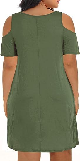Women's Cold Shoulder Plus Size Casual T-Shirt Swing Dress