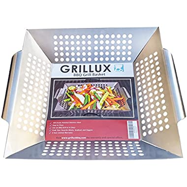 BBQ Vegetable Grill Basket - Use as Wok, Skillet, or Smoker - Durable 430 Grade Stainless Steel - Professional Cookware - Barbeque Fish & Diced Meat - by Grillux