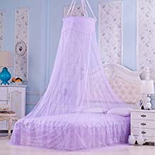 Elegant Round Lace Palace Princess Mesh Mosquito Net Fabric Insect Bed Canopy Curtain Dome For Bedding Decor Purple