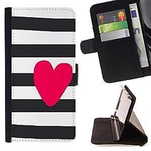 For Samsung Galaxy S3 III i9300 i747 Case , Corazón del amor Rosa Blanco Negro- la tarjeta de Crédito Slots PU Funda de cuero Monedero caso cubierta de piel