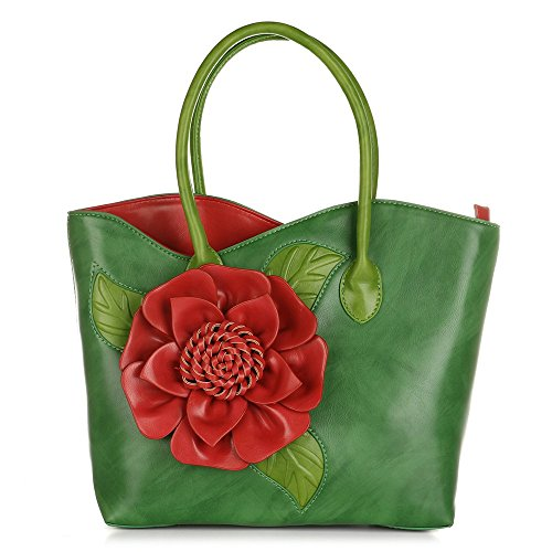 Women 3D Flower Seris PU Leather Tote Bag By Vanillachocolate (Large, Green) ()