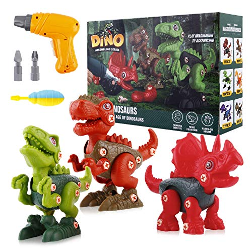 UTTORA Take Apart Dinosaur Toys for 3 4 5 6 7 Year Old Boys, Take Apart Dinosaur Toys STEM Construction Building Toys with Electric Drill for Birthday Easter Gifts Boys Girls