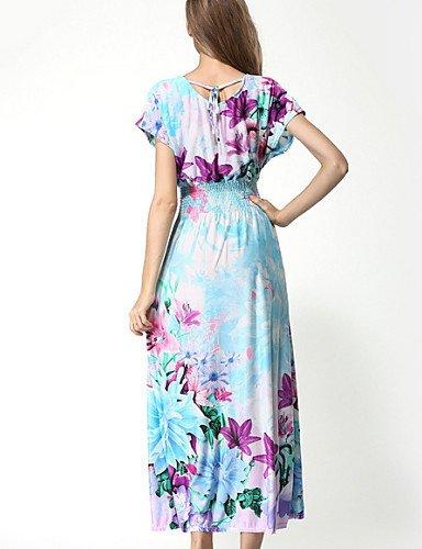 PU&PU Robe Aux femmes Gaine Street Chic,Fleur Col Arrondi Maxi Coton / Polyester , blue-m , blue-m