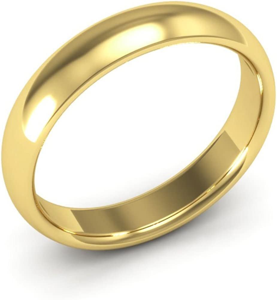 14K Yellow Gold mens and womens plain wedding bands 4mm comfort-fit