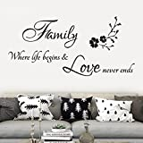 "Cheap Wall Stickers,Yezijin Removable Vinyl Quotes ""Family Where Life Begins, Love Never Ends"" Nursery Flower Home Art Decor Wall Stickers Murals Decals Peel Stick for Kids Room Bedroom"