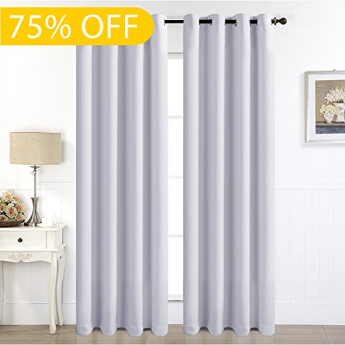 Eskimo Blackout Window Curtain Panel Grommet Top Drapes 2 Panel Set Room Darkening Thermal Insulated Blackout Drapes for Bedroom (W52 x L84,Greyish White)