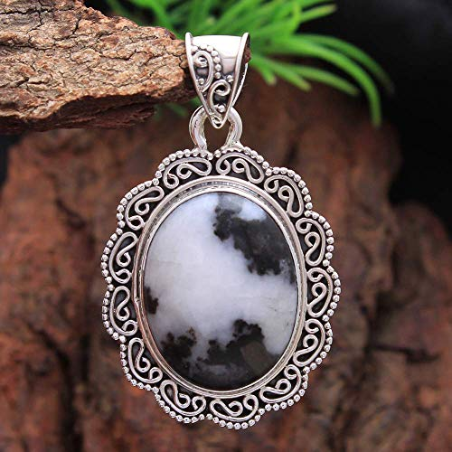 (Easter Special Oval Shape White Buffalo Turquoise Gemstone Pendant 925 Sterling Silver Jewelry Unique Silver Pendant)