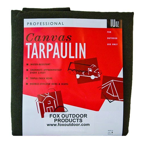 Fox Outdoor Products OD Canvas Tarp, Size 6'x8'