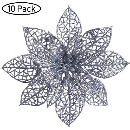 TINGOR 10 Packs Glitter Poinsettia Christmas Tree Ornaments,5.9 inch Artificial Christmas Poinsettia Flowers for Festival DecorationDIY Holiday Floral Arrangements,Silver
