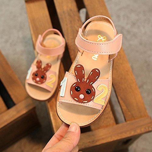 Prevently Mädchen Sandalen Kinder Mädchen Nummer Kaninchen Cartoon Joker Sandalen Prinzessin Schuhe Anzahl Rutschfeste Prinzessin Sandalen Freizeitschuhe Braun