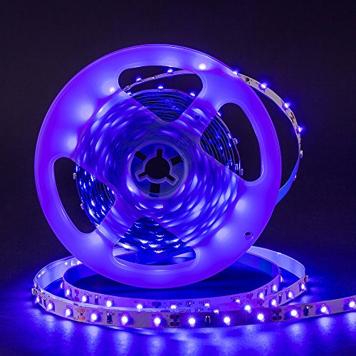 Omika UV LED Blacklight Strip Light Fixture 5M/16FT 3528 SMD - Purple Ultraviolet UV Light String with Strip Connector Kit, One-Side Fixing, Mode & Dimmer Controller – Perfect for Indoor, Wall Decor by Omika