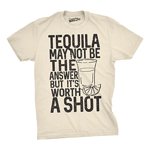 Mens Tequila Not The Answer Worth a Shot Funny T Shirts Hilarious Cinco De Mayo T Shirt (Cream) -S (Tequila Cream)