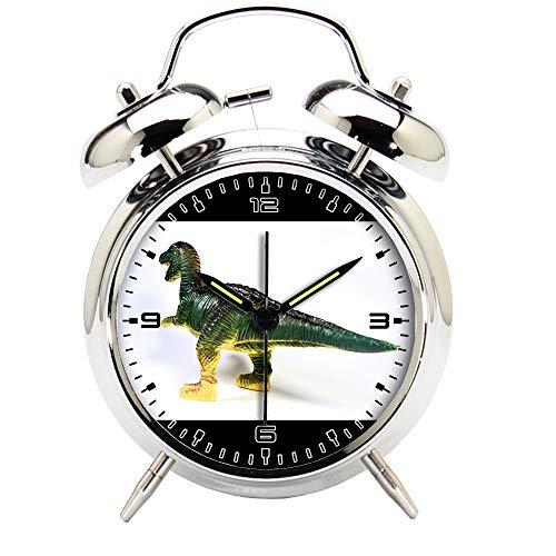 Children's Room Silver Dinosaur Silent Alarm Clock Twin Bell Mute Alarm Clock Quartz Analog Retro Bedside and Desk Clock with Nightlight-024.121_Animal Symbol Reptile Toy icon Dinosaur by girlsight