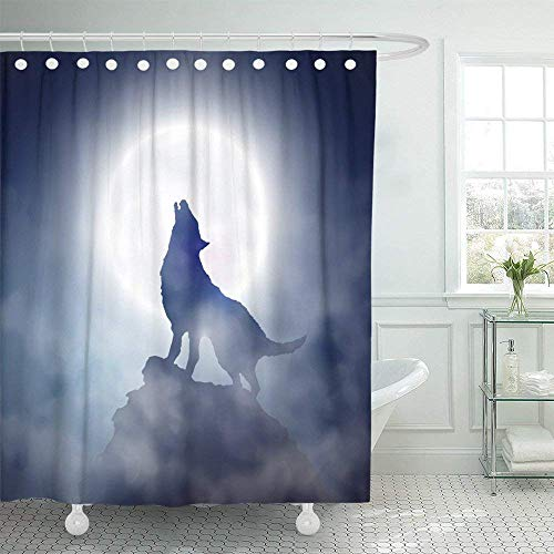 ASGFSC Custom Blue Werewolf Wolf Howling at The Moon 1 Fog Mountain Coyote Full Silhouette Horror Dog Shower Curtain 60x72 inch (One Little Coyote Howling At The Moon)