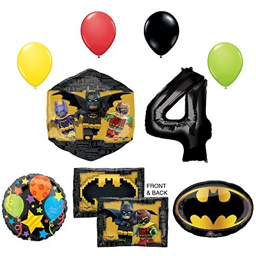 The Lego Batman Movie 4th Birthday Party Supplies and Balloon Decorations (Lego Birthday Games Party)