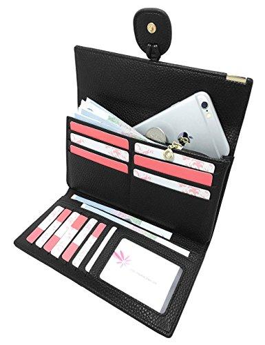 Ladies Tri Fold Wallet (Rfid Blocking Leather wallet for women Girls,ladies long purse Large Capacity(Black))