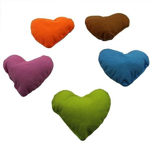 Welim - Cojín para mascota, diseño de corazones, para el cuello, almohadilla para reposacabezas, juguete suave, cojines para perros y gatitos, 3 ...