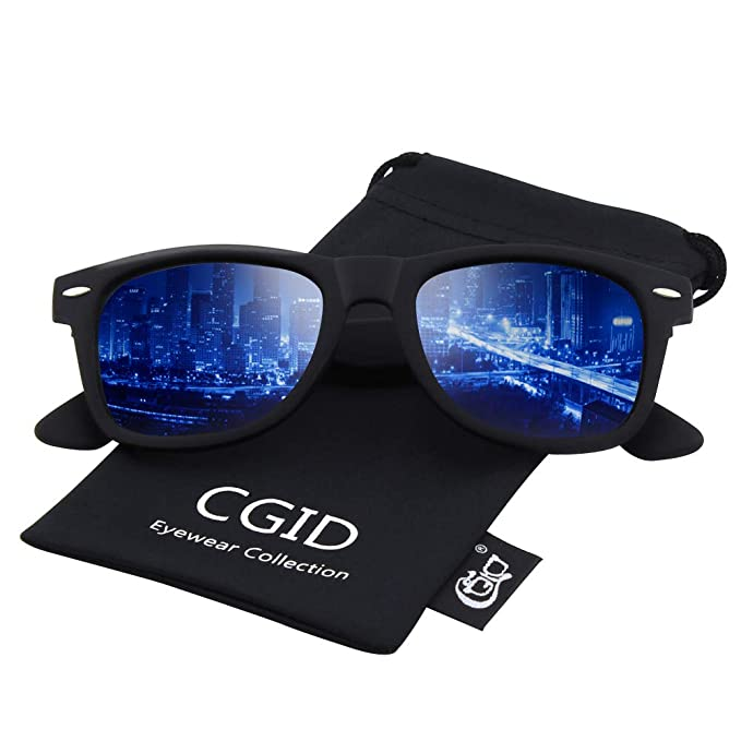 7865493578 CGID Classic Polarized Sunglasses 80 s Retro Horn Rimmed Unisex Men Women  Sun Glasses Mirrored